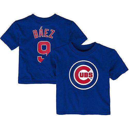 Infant Majestic Javier Baez Royal Chicago Cubs Player Cap Logo Name & Number T-Shirt