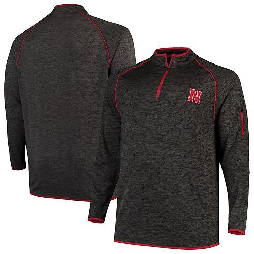 Men's Colosseum Black Nebraska Cornhuskers Big & Tall Duff Windshirt Quarter-Zip Pullover Jacket