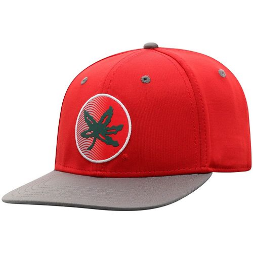 Youth Top of the World Scarlet/Gray Ohio State Buckeyes Phase Adjustable Snapback Hat