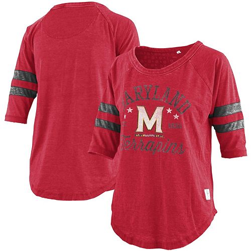 Women's Pressbox Heathered Red Maryland Terrapins Jade Vintage Washed 3/4-Sleeve Raglan Jersey T-Shirt