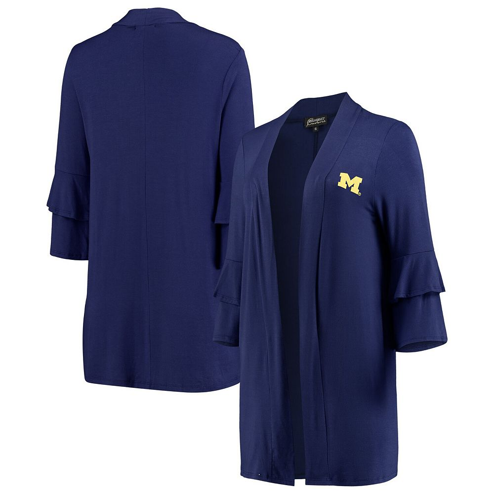 Women's Navy Michigan Wolverines All Wrapped Up Ruffle Half Sleeve Cardigan