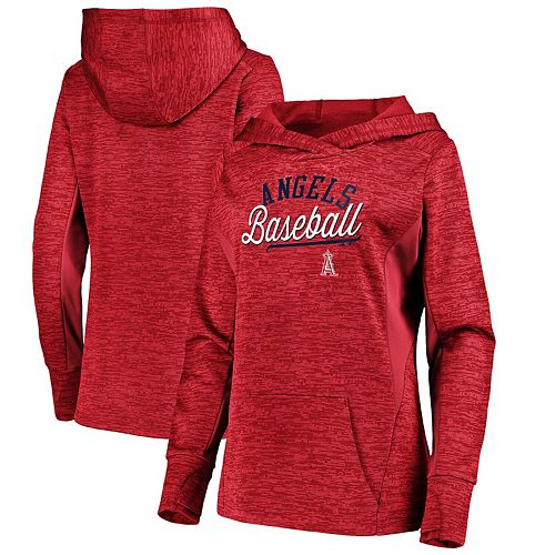 Women's Majestic Red Los Angeles Angels Simplicity Long Sleeve Pullover Hoodie