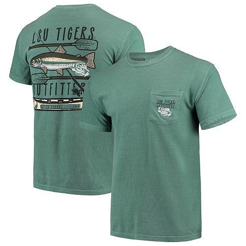 Men's Green LSU Tigers Fishing Stack Comfort Colors Pocket T-Shirt