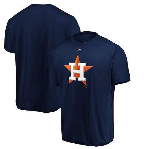 Men's Majestic Navy Houston Astros Synthetic Official Team Logo T-Shirt
