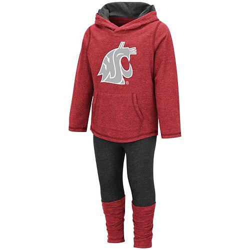 Girls Toddler Colosseum Crimson Washington State Cougars Minerva Hooded Long Sleeve T-Shirt and Leggings Set