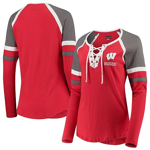 Women's 5th & Ocean by New Era Red Wisconsin Badgers Lace-Up Raglan Long Sleeve T-Shirt