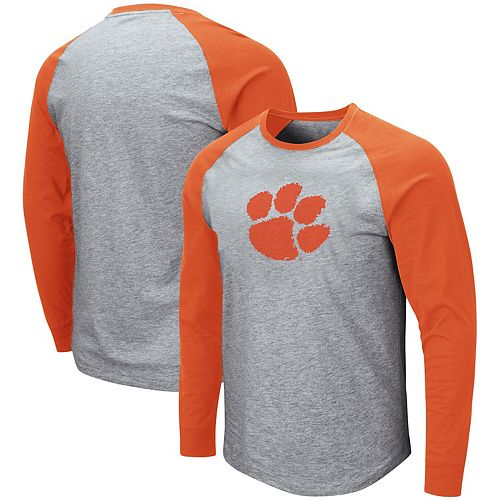 Men's Colosseum Heathered Gray/Orange Clemson Tigers Long Sleeve T-Shirt
