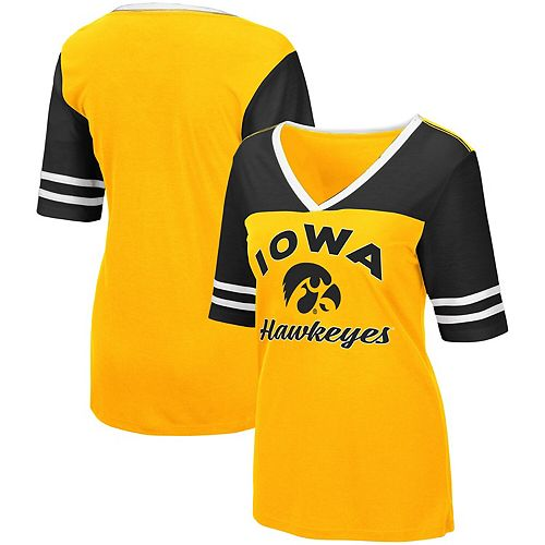 Women's Colosseum Gold Iowa Hawkeyes Samantha V-Neck T-Shirt