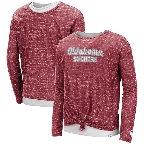 Girls Youth Colosseum Crimson Oklahoma Sooners Brain Double Layer Front Tie Long Sleeve T-Shirt