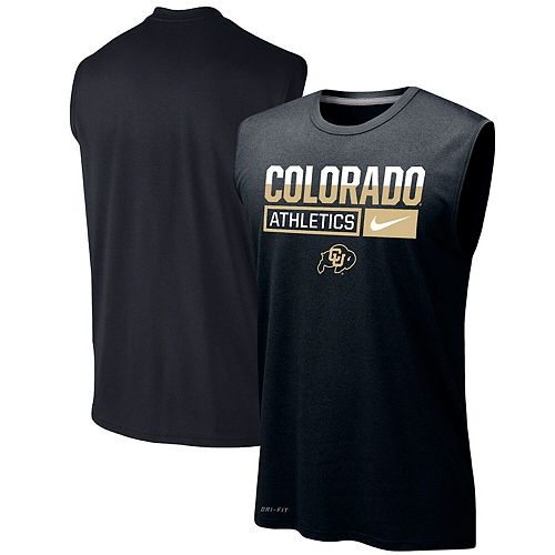 Men's Nike Black Colorado Buffaloes Wordmark Drop Legend Performance Tank Top