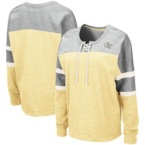 Women's Colosseum Gold Georgia Tech Yellow Jackets Manolo Lace-Up French Terry Pullover Sweatshirt