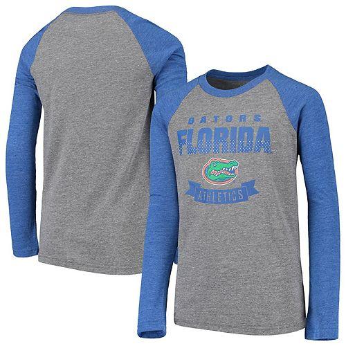 Youth Heathered Gray Florida Gators Equipped Raglan Tri-Blend Long Sleeve T-Shirt
