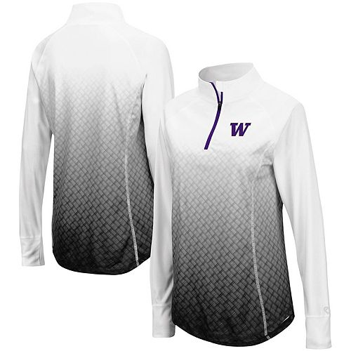 Women's Colosseum Black Washington Huskies Magic Ombre Quarter-Zip Raglan Jacket