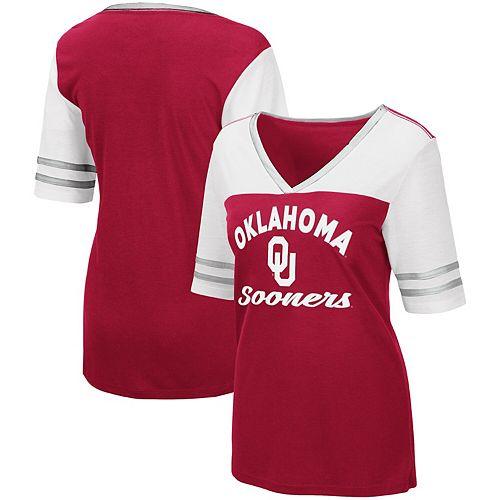 Women's Colosseum Crimson Oklahoma Sooners Samantha V-Neck T-Shirt