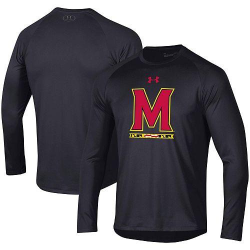 Men's Under Armour Black Maryland Terrapins Wordmark School Logo Tech 2.0 Performance Raglan Long Sleeve T-Shirt