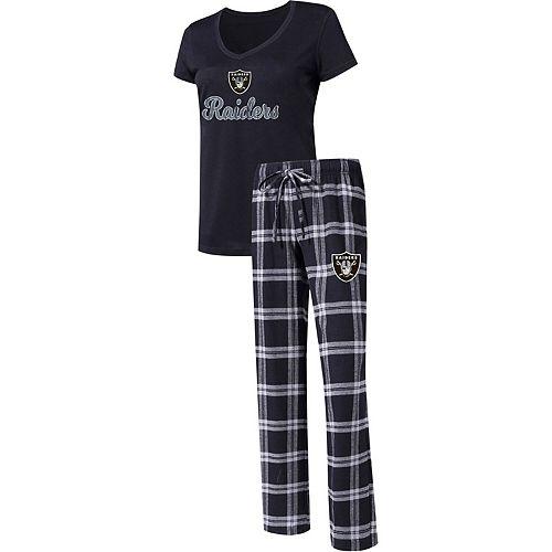 Women's Concepts Sport Black/Silver Oakland Raiders Troupe V-Neck T-Shirt & Pants Sleep Set