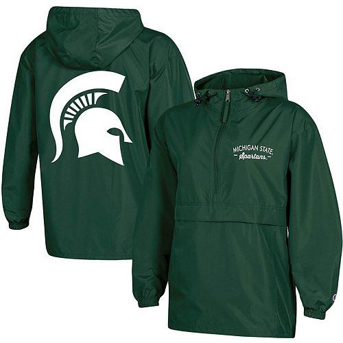 Women's Champion Green Michigan State Spartans Packable Half-Zip Light Rain Jacket