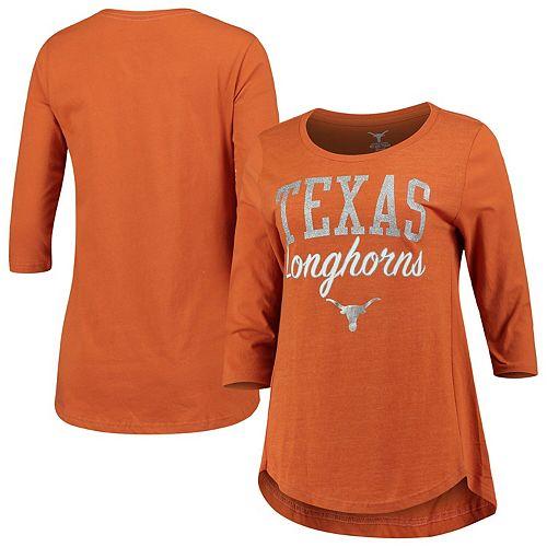 Women's Texas Orange Texas Longhorns Anita Retro Glitter Tri-Blend 3/4-Sleeve T-Shirt