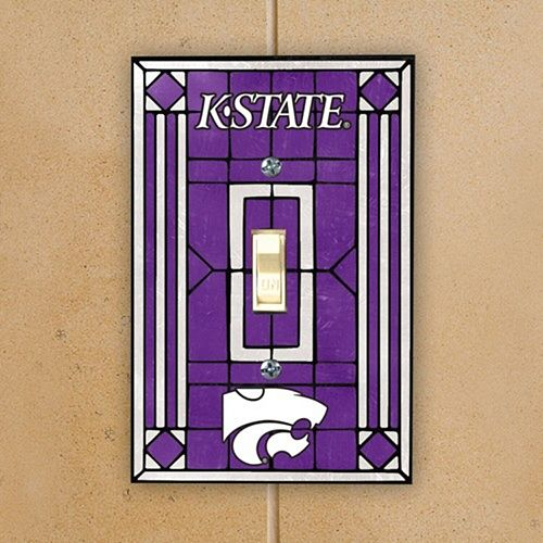 Kansas State Wildcats Purple Art Glass Switch Plate Cover
