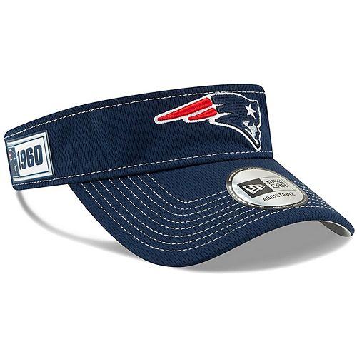 Men's New Era Navy New England Patriots 2019 NFL Sideline Road Official Visor