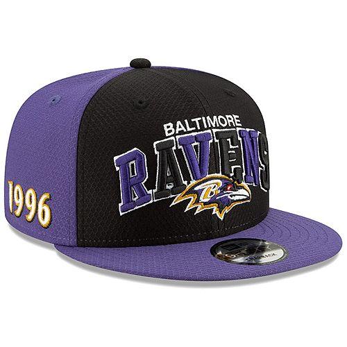 Men's New Era Black/Purple Baltimore Ravens 2019 NFL Sideline Home Official 9FIFTY 1990s Snapback Adjustable Hat