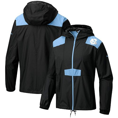 Men's Columbia Black North Carolina Tar Heels Flashback Full-Zip Windbreaker Jacket