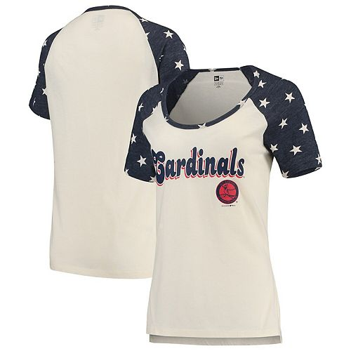 promo code 6594b 94902 Women's New Era Cream/Navy St. Louis Cardinals Baby Jersey Star Raglan  Scoop Neck T-Shirt