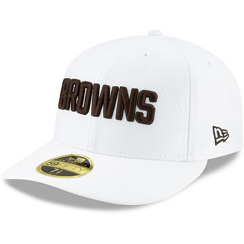 Men's New Era White Cleveland Browns 2019 NFL Sideline Platinum Low Profile 59FIFTY Fitted Hat