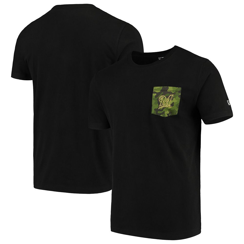 Milwaukee Brewers New Era Armed Special Forces Camo Pocket T-Shirt - Black