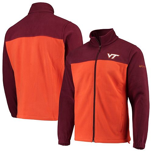 Men's Columbia Maroon/Orange Virginia Tech Hokies Flanker III Fleece Team Full-Zip Jacket