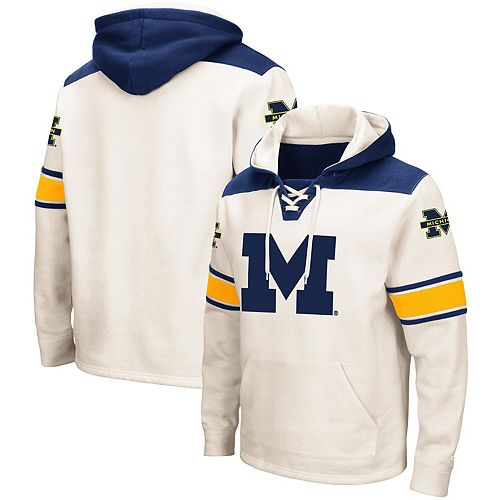 Men's Colosseum Cream Michigan Wolverines 2.0 Lace-Up Pullover Hoodie