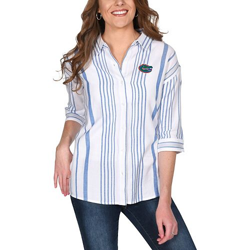 Women's White Florida Gators Missy Striped Button-Up 3/4-Sleeve Shirt