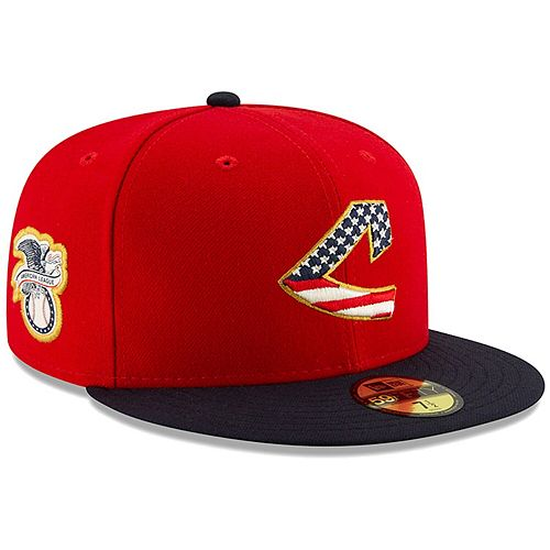 Men's New Era Red/Navy Cleveland Indians 2019 Stars & Stripes 4th of July On-Field 59FIFTY Fitted Hat