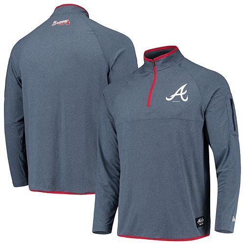 Men's New Era Navy Atlanta Braves Heathered Logo Quarter-Zip Pullover Jacket