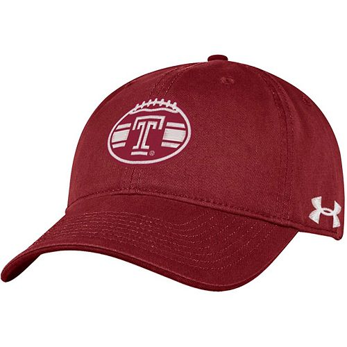 Men's Under Armour Cherry Temple Owls 150 Seasons Washed Cotton Adjustable Hat