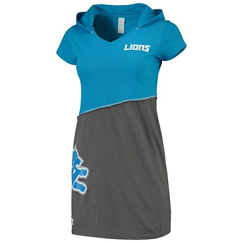 Women's Refried Tees Blue/Charcoal Detroit Lions Hooded V-Neck Mini Dress