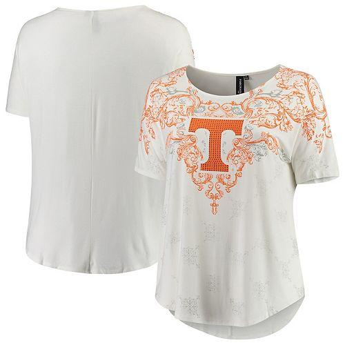 Women's White Tennessee Volunteers Plus Size Victorian Print Dolman T-Shirt