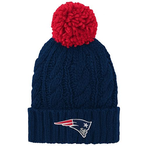 Girls Youth Navy New England Patriots Team Cable Cuffed Knit Hat with Pom