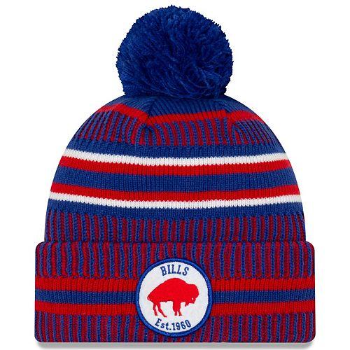 Youth New Era Royal/Red Buffalo Bills 2019 NFL Sideline Home Historic Logo Sport Knit Hat