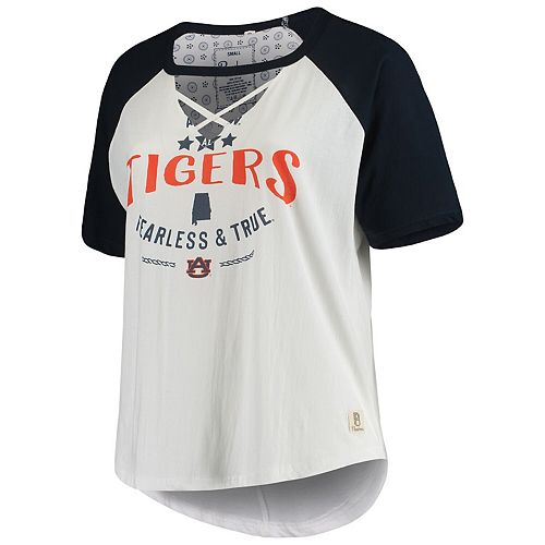 Women's Pressbox White/Navy Auburn Tigers Plus Size Abbie Criss-Cross Raglan Choker T-Shirt