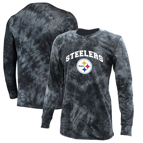 Men's Concepts Sport Charcoal Pittsburgh Steelers Altar Tie-Dye Henley Long Sleeve T-Shirt
