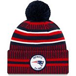 Youth New Era Navy/Red New England Patriots 2019 NFL Sideline Home Sport Knit Hat