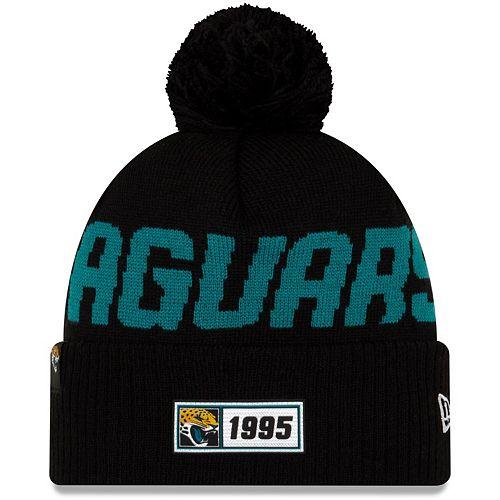 Youth New Era Black Jacksonville Jaguars 2019 NFL Sideline Road Sport Knit Hat