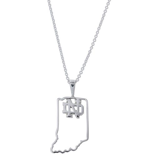 Women's Dayna Designs Silver Notre Dame Fighting Irish Team State Outline Necklace