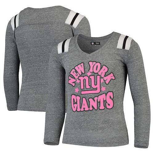 Girls Youth New Era Heathered Gray New York Giants Total Touchdown V-Neck Long Sleeve T-Shirt