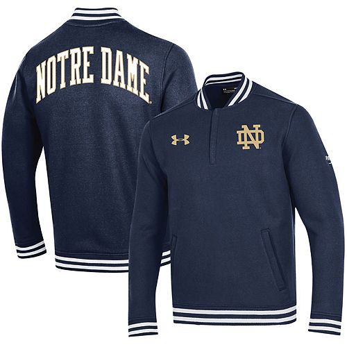Men's Under Armour Navy Notre Dame Fighting Irish College Football 150th Anniversary Double Knit Quarter-Zip Pullover Jacket