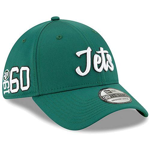 Men's New Era Green New York Jets 2019 NFL Sideline Home Official 39THIRTY 1960s Flex Hat