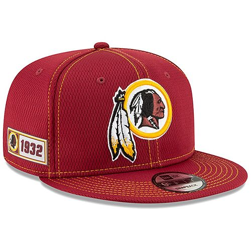 Men's New Era Burgundy Washington Redskins 2019 NFL Sideline Road Official 9FIFTY Snapback Adjustable Hat