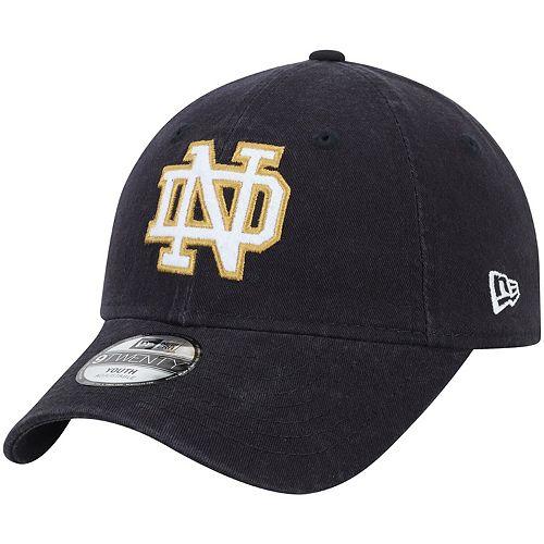 Youth New Era Navy Notre Dame Fighting Irish Fuzzy Front 9TWENTY Adjustable Hat