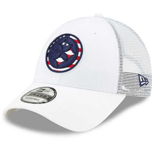 Men's New Era White Pittsburgh Steelers Flag Fill 9FORTY Adjustable Hat